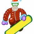Stock Vector: Santa Claus on a snowboard.
