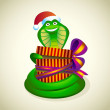 Stock Vector: Christmas snake with gift.