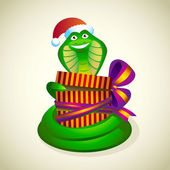 Christmas snake with a gift. — Stock Vector
