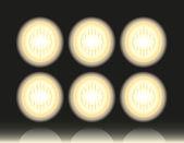 Flutlicht, scheinwerfer, lampen, laternen, hintergrund. — Stockvektor
