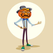 Jack is a pumpkin head. Hipster. — Stock Vector