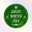 Stock Vector: Great winter 2014. Green. Label.