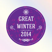 Great winter 2014. Purple. Label. — Stock Vector