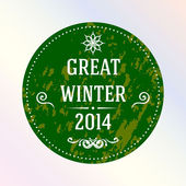 Great winter 2014. Green. Label. — Stock Vector