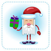 Funny Santa Claus and gift. — Stock Vector