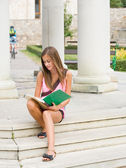Very cute young student girl outdoors. — Stock Photo