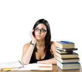 Pensive young student girl. — Stock Photo
