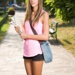 Beautiful teen student girl. — Stock Photo