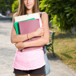 Stock Photo: Beautiful teen student girl.