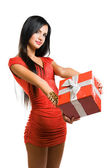 Gorgeous woman with christmas gift box. — Stock Photo