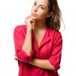 Pensive young brunette woman. — Stock Photo