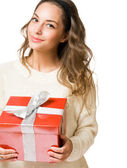 Festive young brunette. — Stock Photo