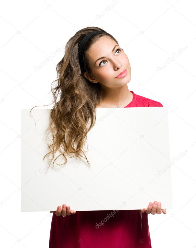 Freindly young brunette beauty holding white blank banner. — Stock Photo #14784129