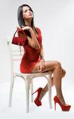 Yüksek kırmızı moda. — Stok fotoğraf