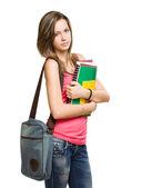 Jeune fille étudiante heureux coloré. — Photo