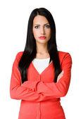 Femme d'affaires à la recherche en colère. — Photo