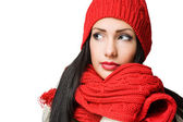 Winter fashion brunette beauty. — Stock Photo