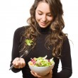 Brunette with fresh salad. — Stock Photo #18433317