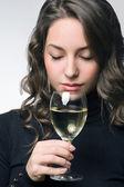 Wine tasting beauty. — Stock Photo