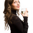 Beautiful woman with glass of wine. — Stock Photo #19037835