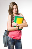 Angry, frustrated looking young student girl. — Stock Photo