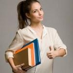 mujer joven estudiante confiado — Foto de Stock