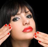 Lipstick brunette. — Stock Photo