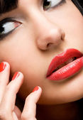 Perfect lips and nails. — Stock Photo
