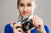 Cute young photographer — Stock Photo