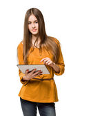 Teen girl having fun with tablet computer. — Stock Photo