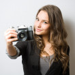 Cute young photographer. — Stock Photo