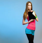 Teen cutie with tablet for copy space. — Stock Photo