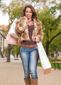 Gorgeous brunette goes shopping. — Stock Photo