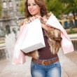 Young brunette shopping woman. — Stock Photo #33979877