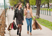 Girlfriends go shopping. — Stock Photo