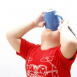 LIttle Boy Drinking from Mug — Stock Photo