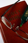 Holy Bible, Eye Glasses and Marker — Stock Photo