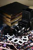 Retro Medium Format Film Camera and Paraphernalia — Стоковое фото