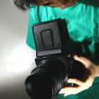 Person or Teen Looking Through a Medium Format Film Camera — Stock Photo