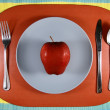 An Apple on a Plate — Stock Photo