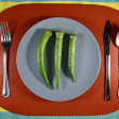 Okra or Lady's Finger on a Plate — Stock Photo
