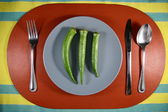 Okra or Lady's Finger on a Plate — Stockfoto