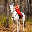 Fine young woman on horseback on white horse — Stock Photo