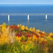 Bridge across the Volga River. Russia. — Stock Photo