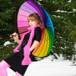 Woman with color umbrella in winter — Stock Photo