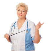 Senior women with stethoscope and pointer — Stock Photo