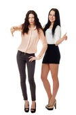 Two women showing like and dislike gesture — Stock Photo