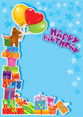 Baby boy birthday card with teddy bear and gift boxes — Stockvector