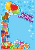 Tarjeta de cumpleaños de niño bebé con oso de peluche y cajas de regalo — Vector de stock