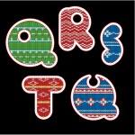 Knitted alphabet - QRSTU — Stock Vector